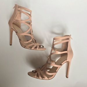 Caged 4 inch cream nude color strappy heels zipper